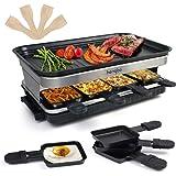 Raclette Appareil Raclette Grill 4 6 8 Personnes Machine Fondue Electrique Raclettes 1500 W avec Anti-adhésives de Poignées 8