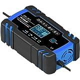 OHMOTOR Caricabatteria per autoveicoli 12V / 8A 24V / 4A Caricabatteria Automatico Intelligente con Display LCD per Auto Moto