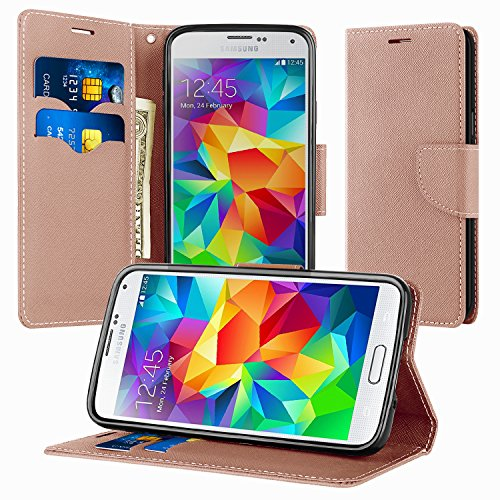 Supad Coque Samsung Galaxy S5, Magnétique Ultra Flip Premium PU Cuir Doux TPU Portefeuille Wallet Case Cover Housse Etui avec Fonction Stand pour Samsung Galaxy S5 (Or Rose)