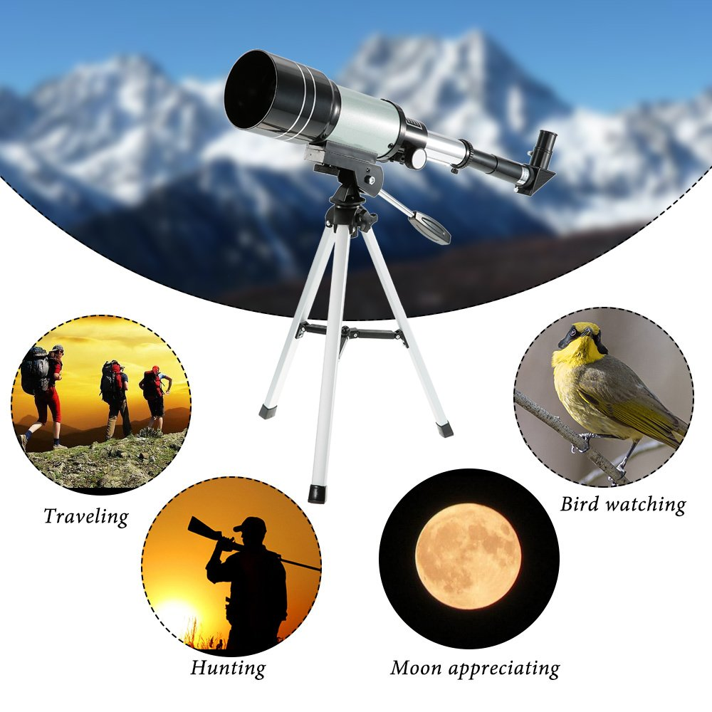 150X Portable Terrestrial Astronomical Refractor, 300x70mm Tabletop  Telescope with Tripod and Eyepiece, Space Astronomy Telescope for Kids  Beginners