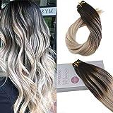 Moresoo Tape In Hair Extensions 16Zoll 100% Remy Echthaar Haarverlängerung Schwarz #1B Zu #18 Zu Blonde #60 Tressen Echthaar Tape On Extensions 20Pcs/50Gramm