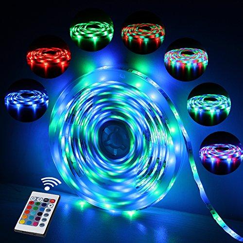 Ruban LED Etanche 5M 2835 RGB,300 LED avec Télécommande 24 touches, 2A 12V