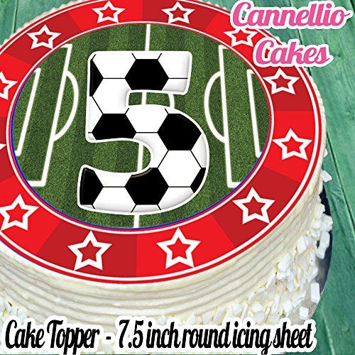 (vorgeschnittenen essbare Deko-silikonformkuchendekoration, 19,1cm Fußball rot 5. Birthday Cake Topper n0339)