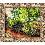 overstockArt La Ansammlung die japanische Brücke (Seerosenteich, Wasser,) von Claude Monet handbemalt Öl mit Espana Gold Rahmen
