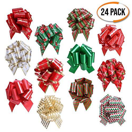 The Twiddlers 24 Weihnachten Schleifen saisonale Dekoration Bänder in 12 Verschiedenen Designs