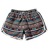 TWIFER Sommer Frauen Männer Paare Strand Floral Boho Shorts Badeshorts Trunks Nickel Hosen Plus Größe(M,H-Braun)