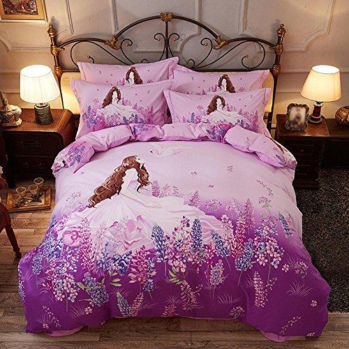 SHIQUNC Baumwolle bettwäsche Vintage Blume Schlafzimmer Set Duvet Set Geburtstag Party Geschenk 4 stücke 1 bettbezug, 1 bettwäsche, 2 Kissenbezüge, 220x240cm -