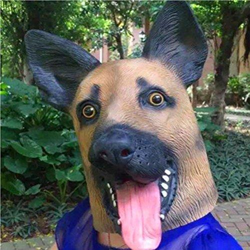 ckung Fox Hund Polizei Hund Maske Tier Bare Hund Kopfbedeckung Bar Party Requisiten, Halloween Maske, Weihnachten Rollenspiel Bühne Leistung Requisiten ()