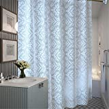 PVC Kunststoff Lichtdurchlässig Duschvorhang, Nein Transparent Weiß Muster Waschbar Wasserdicht Bad Badewannen Mit Genug Ringe Haken , 240x200 cm