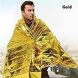 ATPWONZ 10pcs di sopravvivenza ed emergenza Coperta impermeabile Oro e Argento coperta di emergenza della protezione solare / fredda esterna (140 x 210 centimetri)