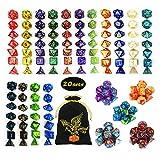 QMAY Set Dadi DND, Dadi poliedrici da Gioco 140PCS, 20 Colori Doppio Colore Dadi DND Gioco Dadi per Dungeon e Draghi DND Rpg Giochi da Tavolo MTG Dado D4 D8 D10 D12 D20 ...