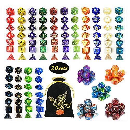 QMAY DND Würfel Set, 140PCS Vieleck Spiel Würfel, 20 Farben Doppel-Farben DND Würfel Rollenspiele Würfel für Dungeon und Dragons DND RPG MTG Tischspiele Würfel D4 D8 D10 D12 D20