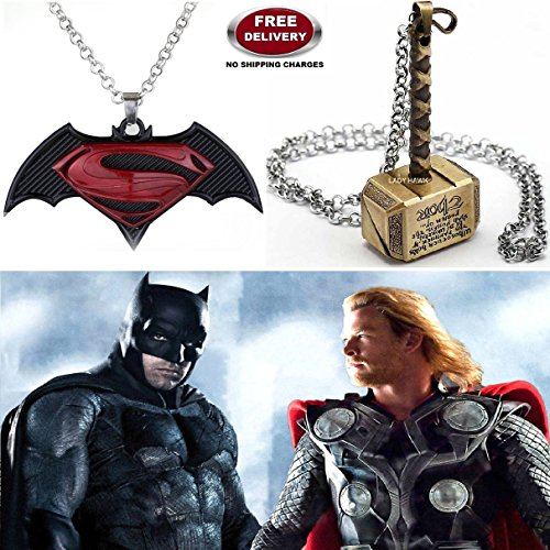 "(2 Pcs SET) - BATMAN SUPERMAN DAWN OF JUSTICE LOGO (BLACK METAL) & THOR HAMMER (GOLD COLOUR) IMPORTED METAL PENDANTS WITH CHAIN. LADY HAWK DESIGNER SERIES 2018. ❤ ALSO CHECK FOR LATEST ARRIVALS OF ""LADY HAWK"" BRAND PRODUCTS - NOW LIST"