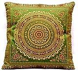 Indische Banarasi Seide froschgrün Deko Kissenbezüge 40 cm x 40 cm, Extravaganten Design für Sofa & Bett Dekokissen, Kissenhülle aus Indien (Angebot gültig nur für ein Woche)