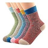 5 Paar Socken Damen Sportsocken bunte Baumwollsocken socken damen 39-42 sneaker muster von Kfnire (Stil 01)