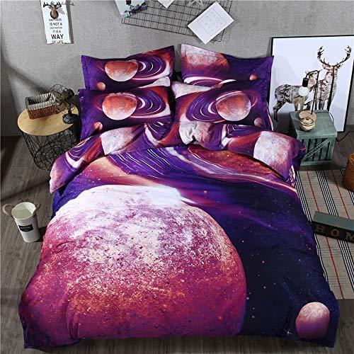 JSDJSUIT Bettwäsche gesetzt Bettlaken Galaxy 3D Bettwäsche-Sets Universum Weltraum Bettbezug Kissenbezug Sets-Twin Set 4st