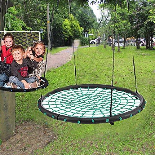 Qulista Garten - Nestschaukel Kinderschaukel Ø100cm groß für 2 Erwachsene, belastbar 200kg (Grün)