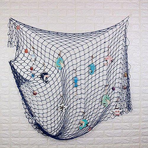 Amorar Dekorativ Fischnetz Foto Requisiten mit Muscheln, mediterranen Stil nautischen Dekor für Wand und Zuhause Dekor, Partyzubehör, Wandkunst, 150 * 200cm,EINWEG Verpackung