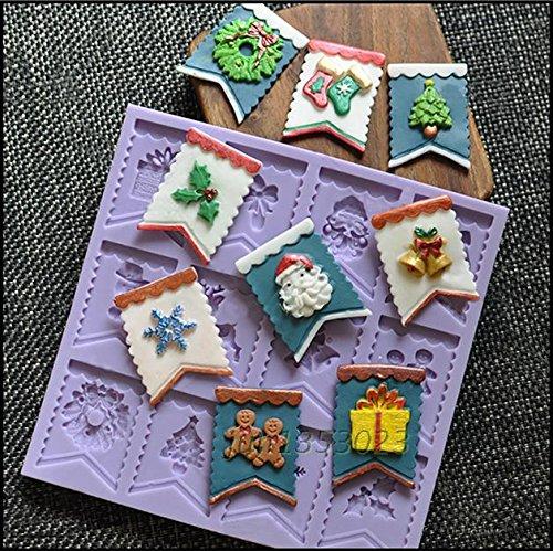 Bandiera Babbo Natale regalo di natale Baking Candy Calze di Natale/albero/Pupazzo di neve in silicone fondente torta stampo per decorazione torte in colore casuale (Versione aggiornata)