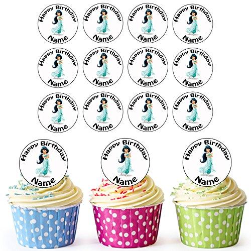 Jasmine (Aladdin) Disney Princess – 24 personnalisé comestible pour cupcakes/décorations de gâteau d'anniversaire – Facile prédécoupée + Cercles