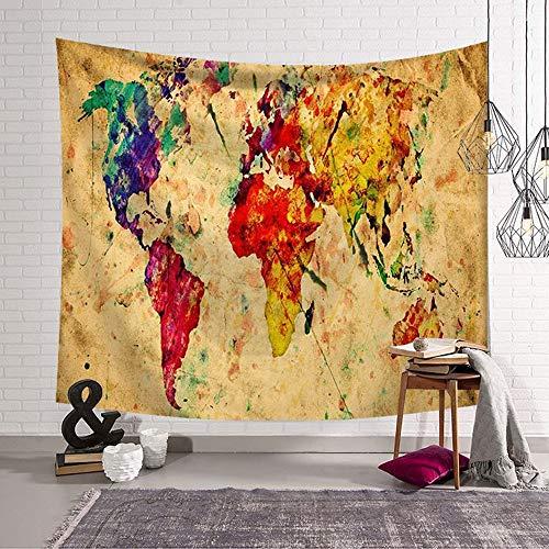 Tapiz Pared de Creativo,Morbuy Mapa del mundo 150 x 200 cm Decoración...