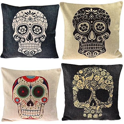 Hipsteen 4ST Mexikanischen Tag Der Toten Sugar Skull Baumwolle Bettwäsche Piazza Dekorative Kissen Geprägt Decken Kissenbezug Sechserzimmer 43 * 43cm