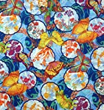 In the Beginning Baumwollstoff Meterware mit Schmetterlingen - Stoffe Baumwolle - Patchworkstoffe Zum nähen - Bunt Blau Hellblau - Pro 0,5m