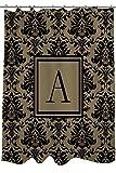 Manuel Woodworkers et Weavers Rideau de douche, ornée d'un Monogramme Lettre A, Damas Noir et Doré...