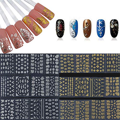 feiXIANG 12PCS 3D Différents Styles Stencil Ongles Nail Art Stickers Set Designs Cute Nail Art Ongles Stencil Feuilles Starry Sky Transfer Decals