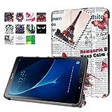 Tablette Samsung Tab A T580 10.1 Hülle, Folio Slim Kunstleder Schutzhülle Flip Cover für Samsung Galaxy Tab A (2016) SM-T580N/T585N 25,54 cm (10,1 Zoll) mit Multi-Standfunktion (#2 Vintage Zeitungen)