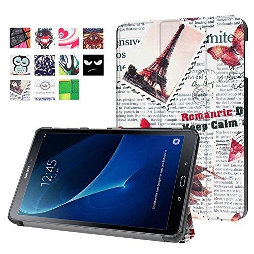 Tablette Samsung Tab A T580 10.1 Hülle, Folio Slim Kunstleder Schutzhülle Flip Cover für Samsung Galaxy Tab A (2016) SM-T580N/T585N 25,54 cm (10,1 Zoll) mit Multi-Standfunktion (#2 Vintage Zeitungen) (Tabletten De Cover)
