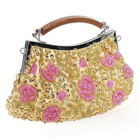BMC Womens Shimmering Gold Tiny Bead Encrusted Pink Flower Design Clutch Evening Bag