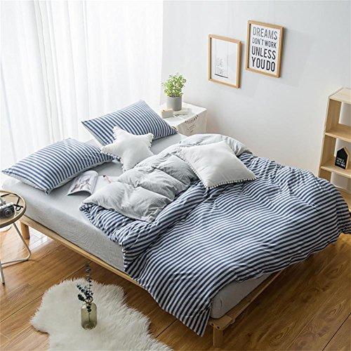FJLOVE gestreifte 4 teilige Bettwäsche-Set aus Baumwolle, enthält einen Bettbezug, einen Betttuch und 2 Kissenbezüge, in unterschiedliche Größe, blau oder rosa, blue, 200*230