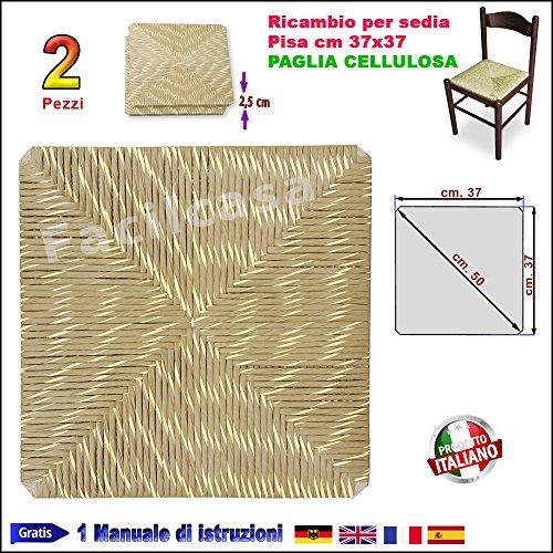 1002 - Assise de chaise en paille cellulose, carrée (37 x 37 cm), pour chaise Pisa