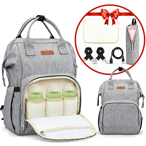 LOORY Baby Diaper Backpack with USB Charging Port & Cable + Insulated Bag Soft/Changing Pad/Stroller Straps/Large Capacity Backpack Nappy Bags Multi-Function Waterproof Unisex Travel Backpack