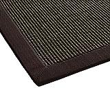 Sisal-Teppich modern hochwertige Bordüre Flachgewebe dunkel-braun, verschiedene Größen, Variante: 80 x 150 cm