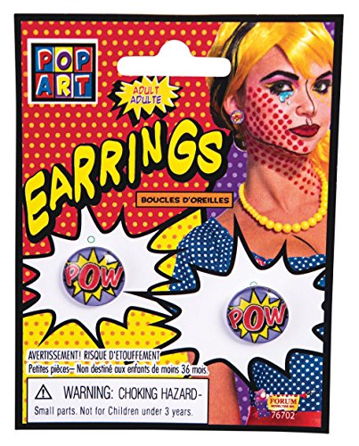 Comic Pop Kostüm Art - Bristol Novelty 76702 Pop Art Pow Ohrringe, Einheitsgröße