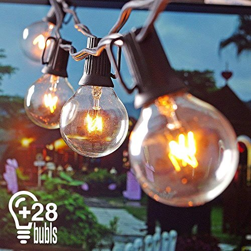 Heofean catena di lampadine con 25 lampadine a incandescenza e 3 lampadina di ricambio,25ft 7,5m g40 luci da esterno giardino,connessione e end-to-end fino a 3 trefoli,catena luci per esterno e iinterno,catena luminosa lampadina decorative per esterno,220v,luce gialla per festa, giardino, natale, halloween, matrimonio