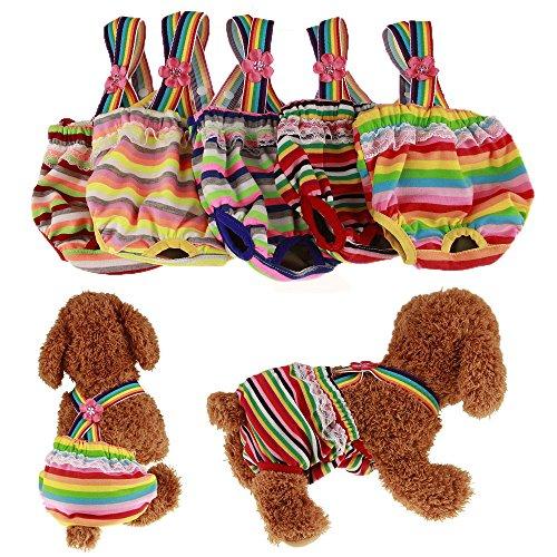 Tineer Pet Dog Cat Colorful Stripe Pantalones Cortos fisiológicos Pantalones de Ropa...