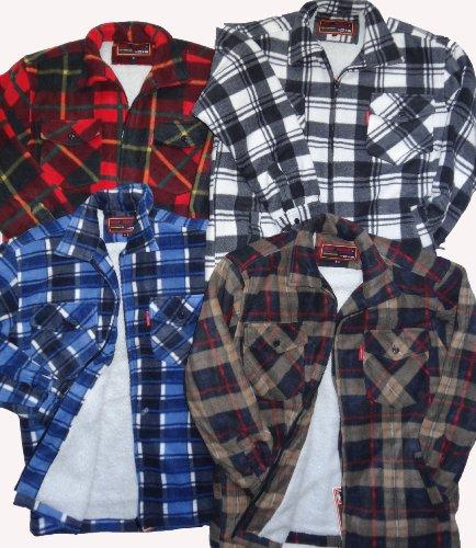 Camicia in pile da uomo stile boscaiolo con fantasia a quadri blue check medium
