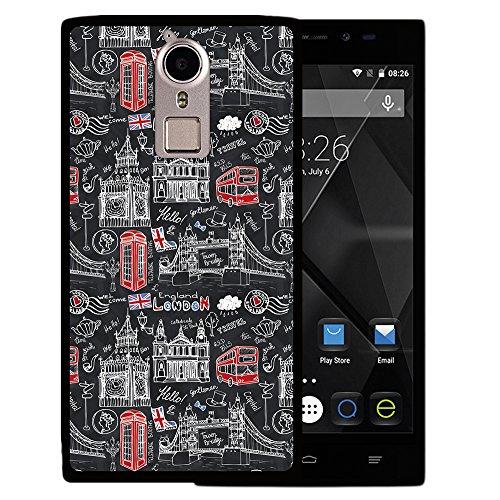 Doogee F5 Hülle, WoowCase Handyhülle Silikon für [ Doogee F5 ] London Symbole Handytasche Handy Cover Case Schutzhülle Flexible TPU - Schwarz