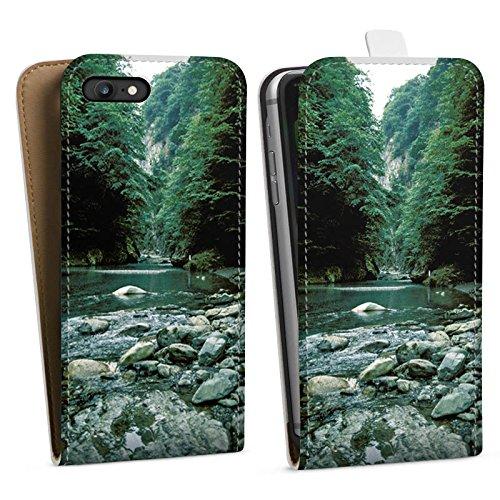 Apple iPhone X Silikon Hülle Case Schutzhülle Fluß Wald Flusslauf Downflip Tasche weiß