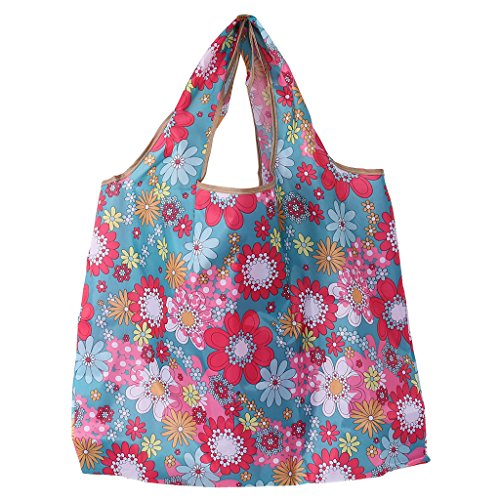 (XMPTF Faltbare Handtasche aus Oxford-Stoff, wasserfest, Lake Blue&red Sunflower, Approx. 47x42x8cm)