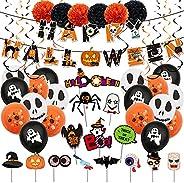 Halloween party supplies, Halloween pumpkin party decoration set includes banners, ghost aluminum foil balloon