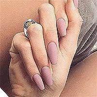 BloomingBoom False Nail Coffin 24 Pcs 12 Size Fake Nails Full Cover Long Fake Nail Press on Salon Pre Design Ballerina Pure Color Elegant Matte Nude Pink
