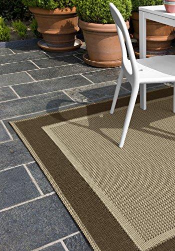 F & S ELEGANCE 160 x 230 cm beige marron alfombra moderna Flat Weave en aspecto de Sisal para sala de estar, dormitorio, pasillo, oficina, balcón y patio. Para uso INTERIOR y EXTERIOR. Fabricado en EUROPA OCCIDENTAL