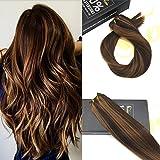 Sunny Remy Hair Extensions 100g de Pelo Natural 50cm/20Pulgadas Cabello Humano Brasileno Marron Oscuro mezclado con Caramelo Rubio # 2/27