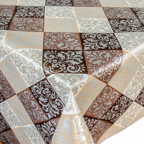 Wachstuch Tischdecke Meterware Motiv Quadraten in braun/dunkelbraun/beige Wachstischtuch abwaschbar