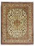 Morgenland Seidenteppich Kaschmir Reine Seide 211 x 154 cm Beige Handgeknüpft