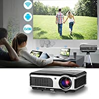 CAIWEI LED Android Wireless Projector with DVB-T2 HDMI TV Tuner Built-in WiFi Home Cinema Theatre Projectors 3800 Lumens Support 1080P HD for Smartphone Tablet Laptop PS3 USB Drive DVD